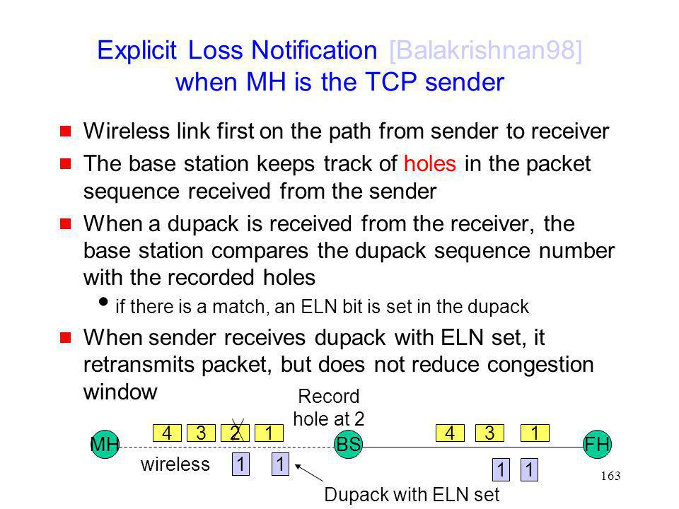 Explicit Loss Notification [Balakrishnan98] when MH is the TCP sender